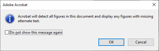 Adobe telling you that you will need to input alt text